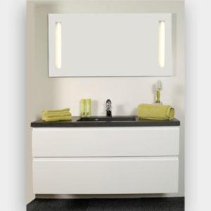 Hvid højglans grebsfri - Sort vask