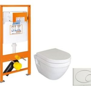 Komplet pakke. Lavabo Stelvio hængetoilet m/Soft close sæde. m/Jomo cisterne m krom trykk